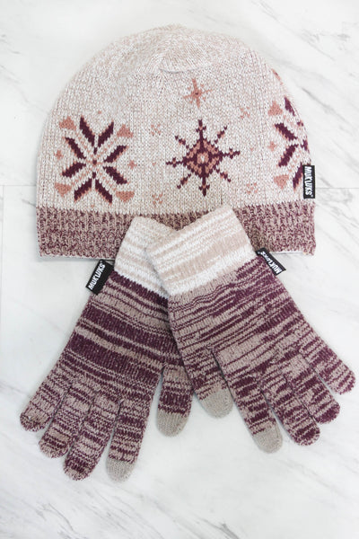 Muk Luk Hat & Glove Set - Mauve