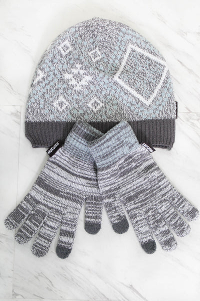 Muk Luk Hat & Glove Set - Grey