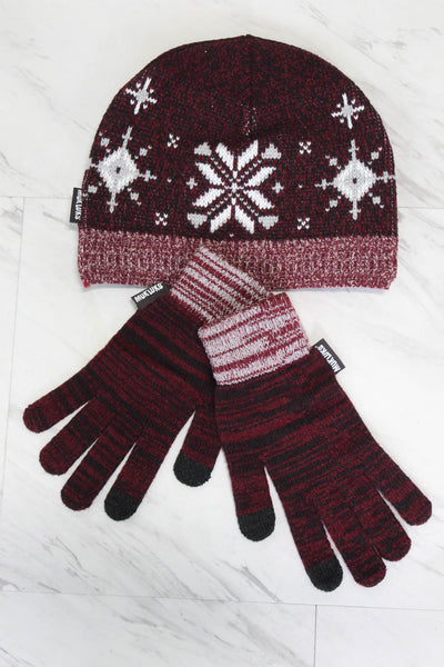 Muk Luk Hat & Glove Set - Burgundy