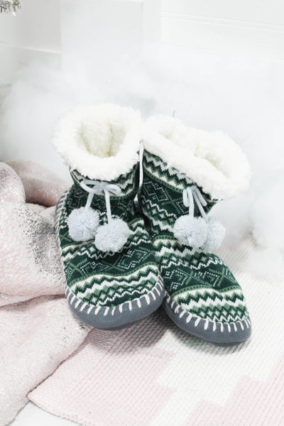 MUK LUK SOFT BOTTOM BOOTIES GREEN