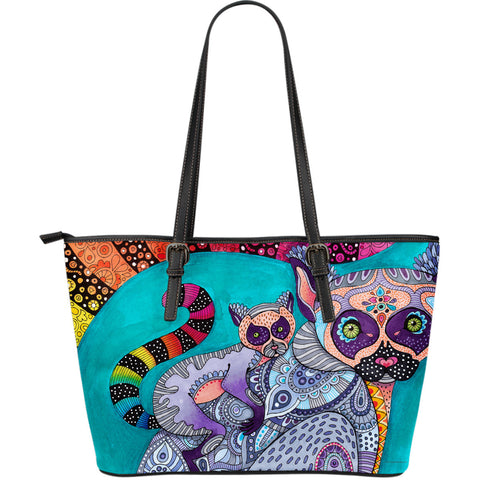 Cat on The Back Leather Tote - Large