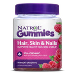 Natrol Hair, Skin & Nails Gummies, Raspberry flavor