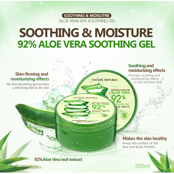 NATURE REPUBLIC Soothing & Moisture Aloe Vera 92% Soothing Gel - GOGO Beauty - 3
