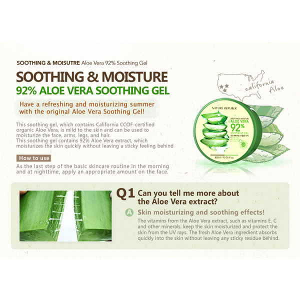 NATURE REPUBLIC Soothing & Moisture Aloe Vera 92% Soothing Gel - GOGO Beauty - 2