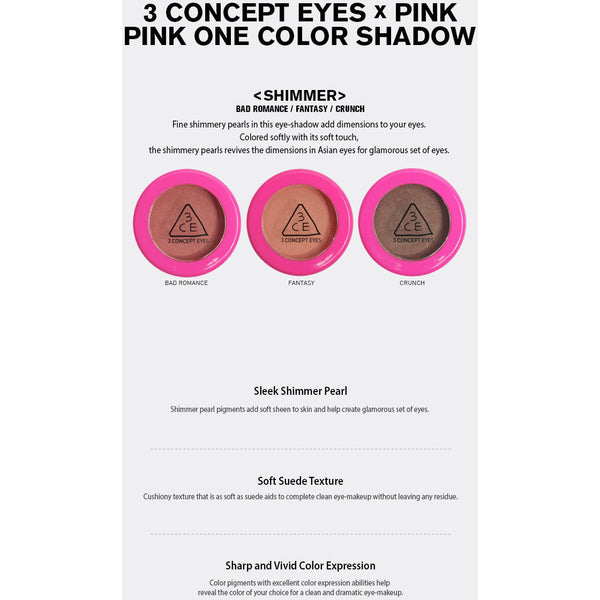 3CE Pink One Color Shadow - Go Go Beauty - 8