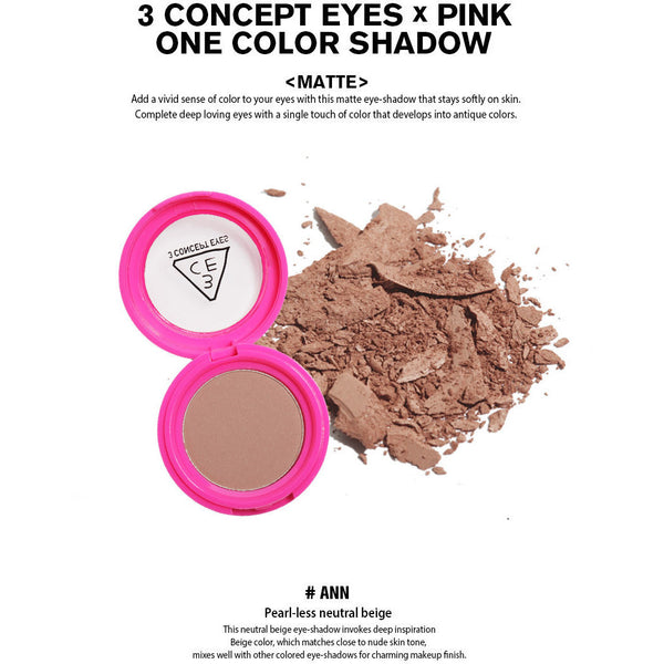 3CE Pink One Color Shadow - Go Go Beauty - 6
