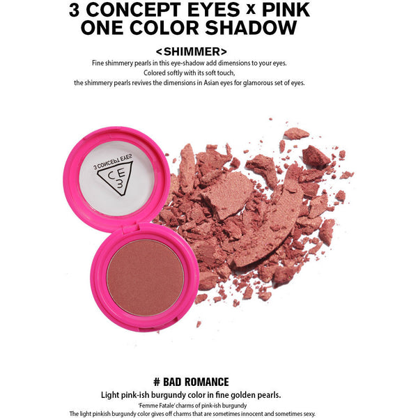 3CE Pink One Color Shadow - Go Go Beauty - 9