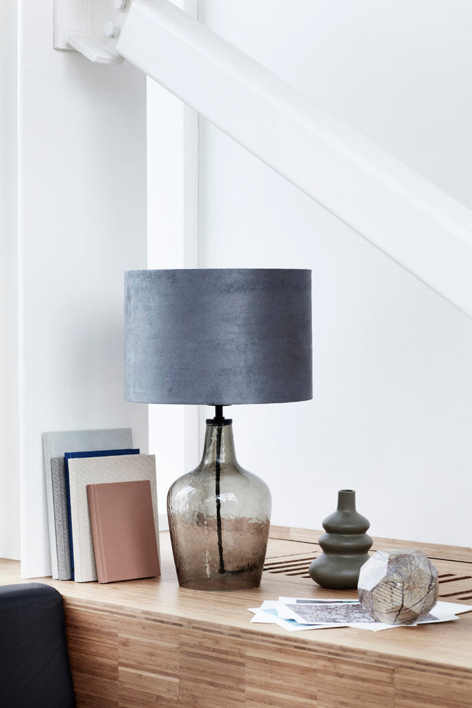 Table lamp with smoked glass base and grey shade - escapologyhome.com