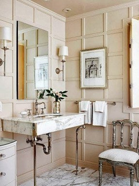 Designer Bathroom With Chair & Ornate Sink