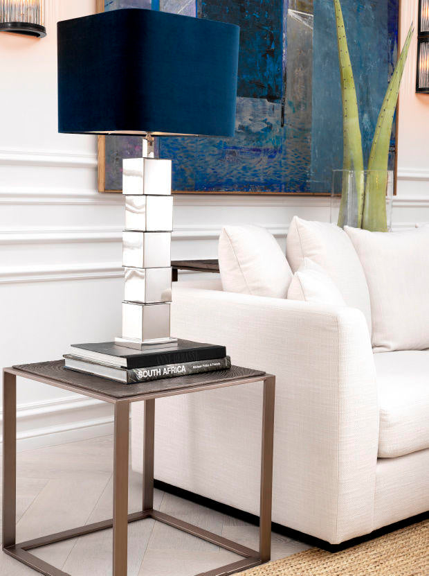 Neutral Farbirc Sofa with Side Table and Lamp