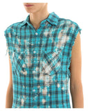 Faith Connexion Distressed Sleeveless Check Shirt