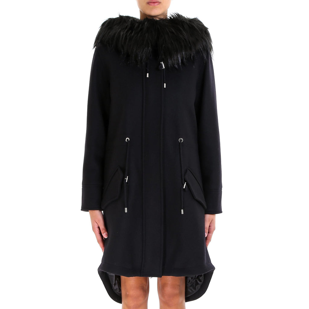 Moschino Crystal Embellished Teddy Fur Hood Coat
