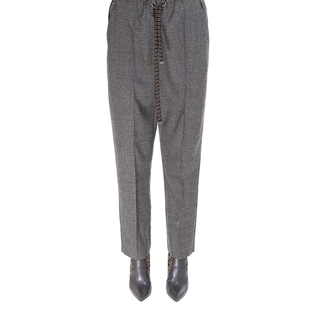 Fendi Micro Check Drawstring Trousers