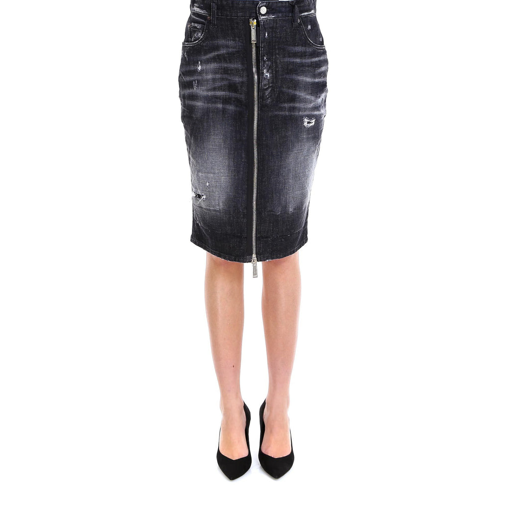 Dsquared2 Zip-Detail Denim Midi Skirt