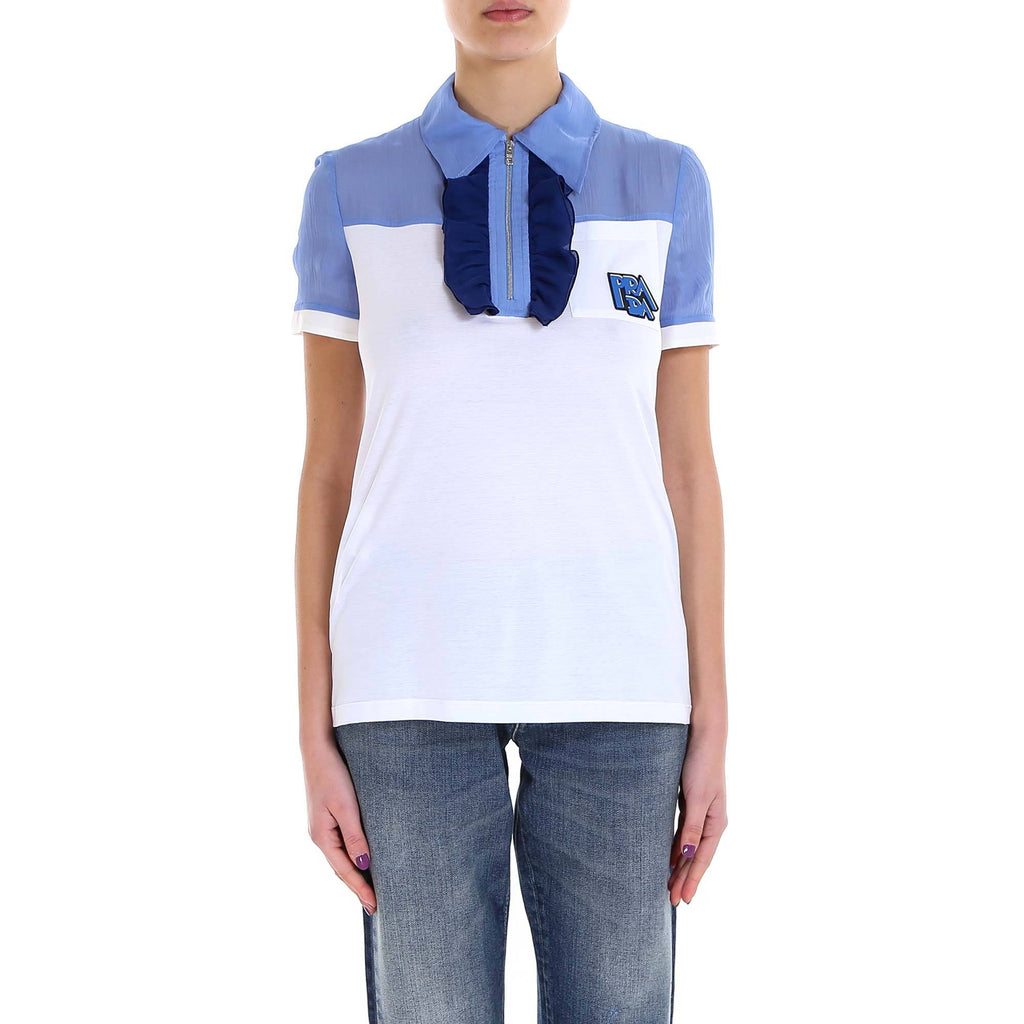 Prada Silk Insert Polo Shirt