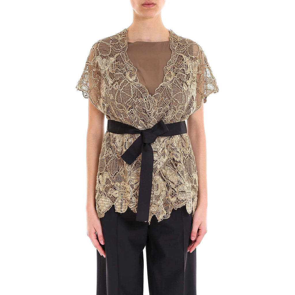 Brunello Cucinelli Embroidered Lace Top