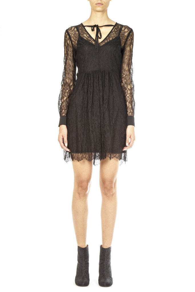 McQ Alexander McQueen Sheer Leaf Lace Dress