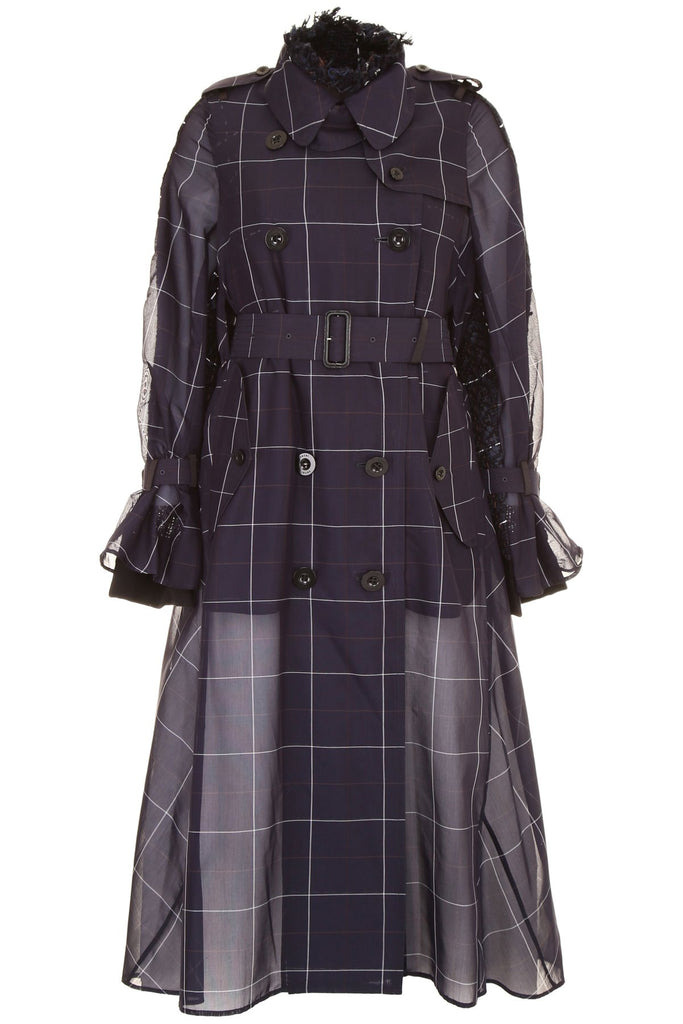 Sacai Windowpane Print Sheer Trench Coat