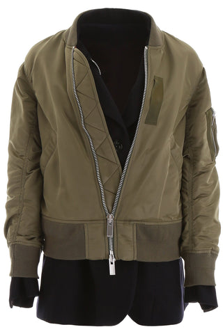 Sacai Layered Zipped Bomber Jacket