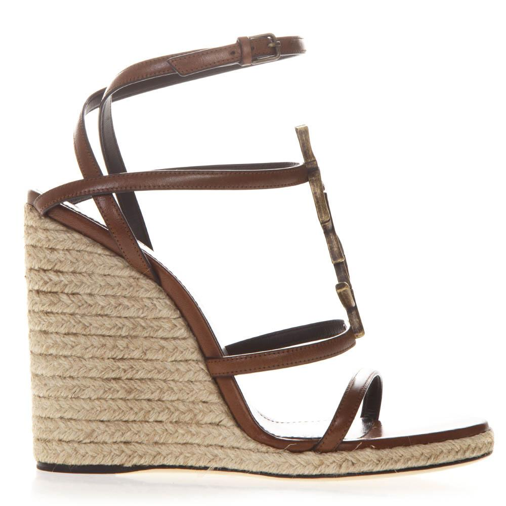 Saint Laurent YSL Monogram Wedge Sandals