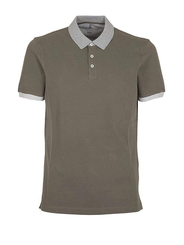 Brunello Cucinelli Contrast Coloured Collar Polo Shirt