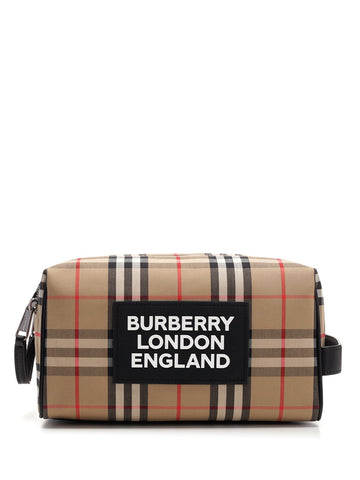 Burberry Checked Logo Toiletry Bag