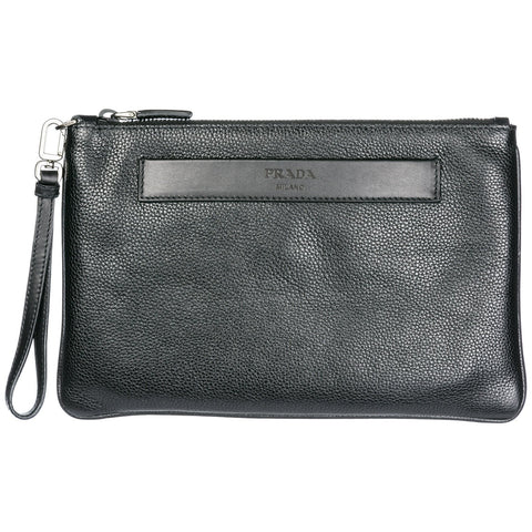 Prada Embossed Logo Document Pouch