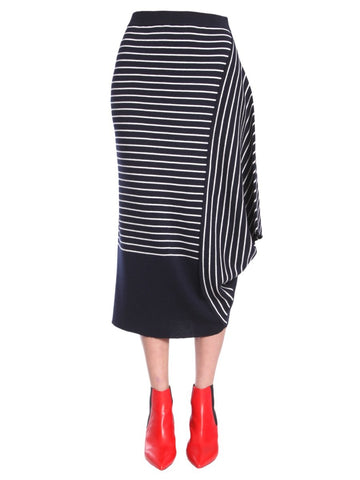 JW Anderson Striped Asymmetric Draped Skirt