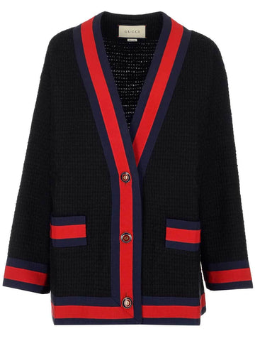 Gucci Contrast Trimmed Tweed Jacket