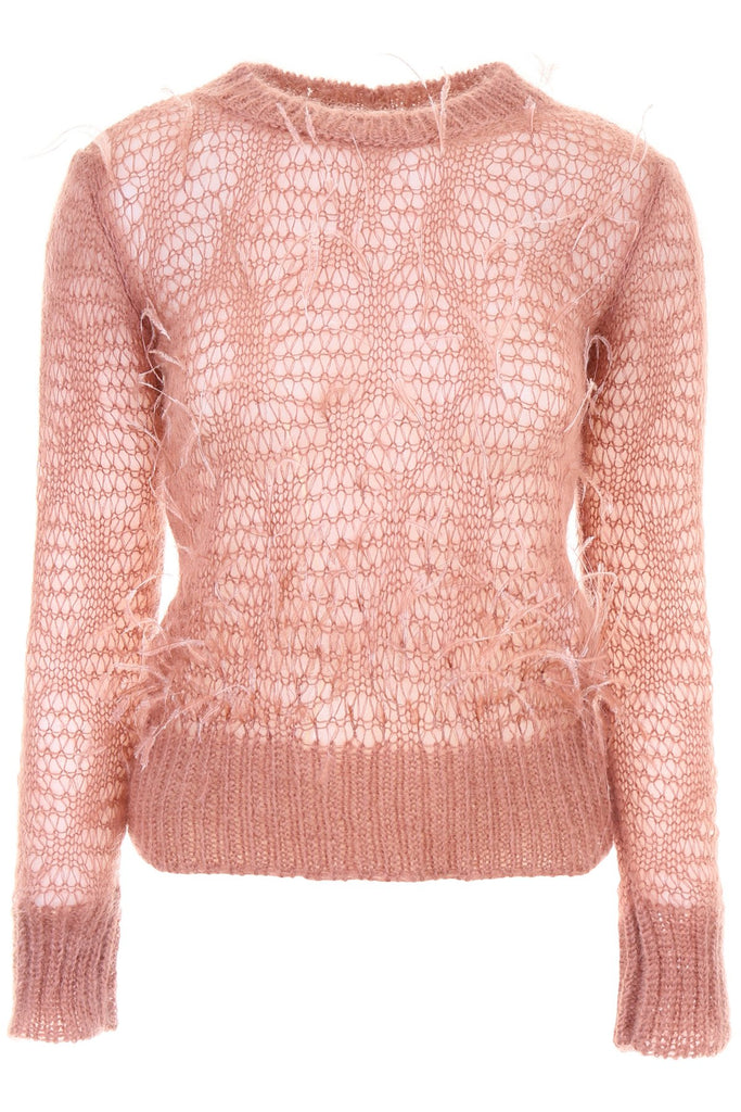 N°21 Ostrich Feathers Loose Knit Mohair Blend Jumper