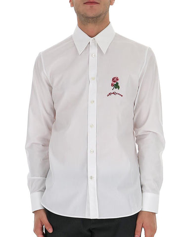 Alexander McQueen Rose Embroidered Shirt