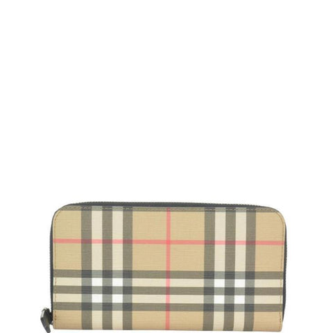 Burberry Vintage Check Zip Around Wallet