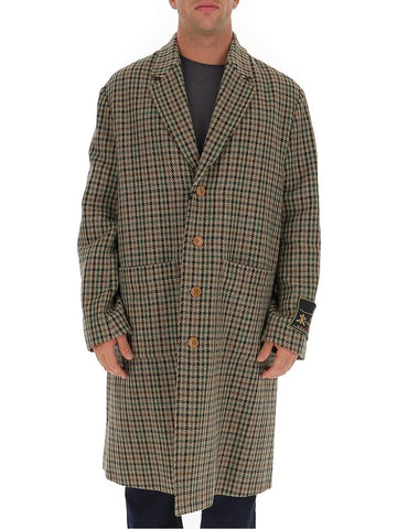 Gucci Single Breasted Houndstooth Coat