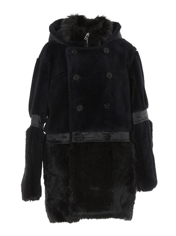 Sacai Faux Fur Hooded Coat