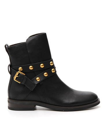 See By Chloé Studded Buckle Detail Ankle Boots
