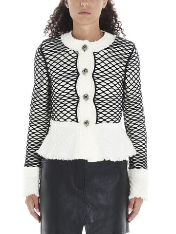 Alexander Wang Cropped Fishnet Tweed Jacket