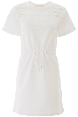 See By Chloé Lace Insert T-Shirt Dress