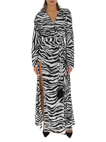 Attico Zebra Printed Slit Dress