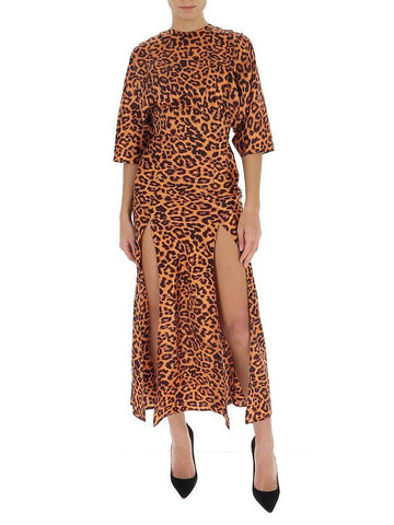 Attico Leopard Printed Slit Dress