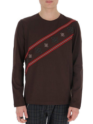 Fendi FF Karligraphy Diagonal Striped Sweatshirt