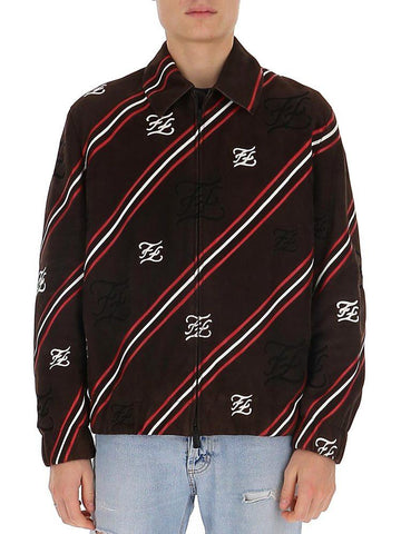Fendi FF Karligraphy Diagonal Striped Jacket