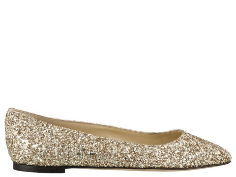 Jimmy Choo Mirele Glittered Flat Shoes