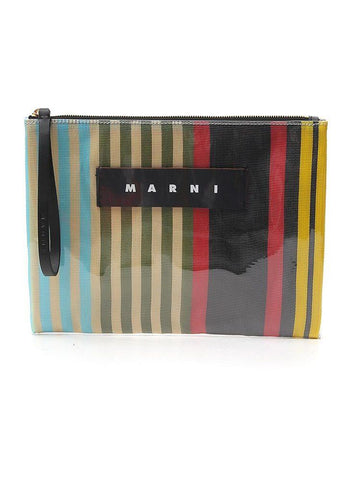 Marni Striped Clutch Bag