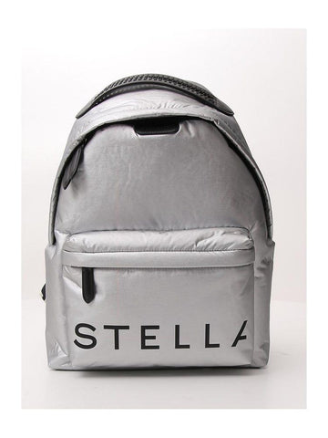 Stella McCartney Metallic Logo Printed Backpack