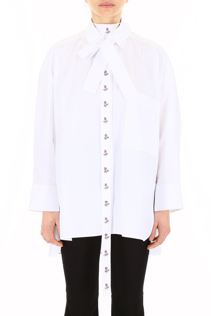 Valentino Floral Embroidered Panel Shirt