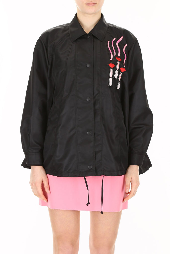 Valentino Logo Patch Embellished Lightweight Button-Up Jacket