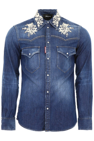 Dsquared2 Lace Detail Denim Shirt