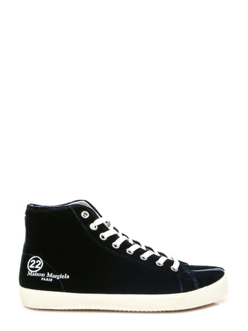 Maison Margiela Tabi Toe High Top Lace-Up Velvet Sneakers