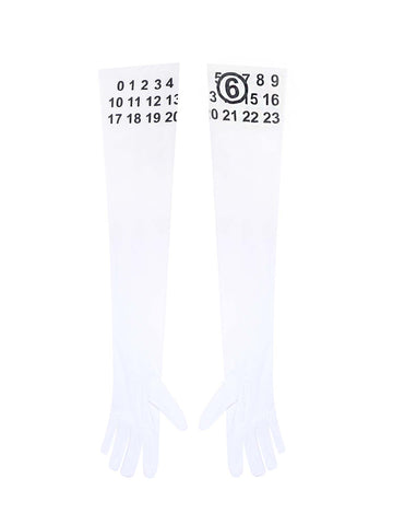 Mm6 Maison Margiela Logo Printed Long-Sleeve Gloves