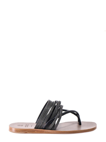 Brunello Cucinelli Embellished Straps Thong Sandals